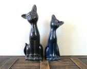 vintage mid-century ceramic  black cat figurines