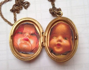Original Photography Creepy Baby Doll Vintage Locket with Chain -SALE-