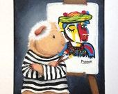 Pablo Pigcasso - 8x10 Original guinea pig painting