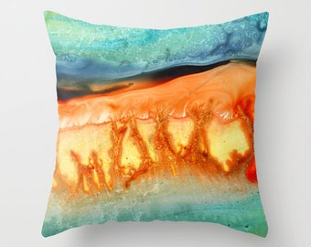Lava Cake Colorful Watercolor Throw Pillow Cover