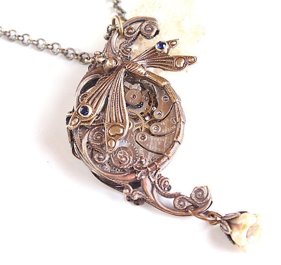 Steampunk Necklace Dragonfly Filigree Victorian Necklace Steampunk Style Blue Victorian Steampunk