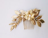 Brass flowers and leaves comb with freshwater pearls, style 508