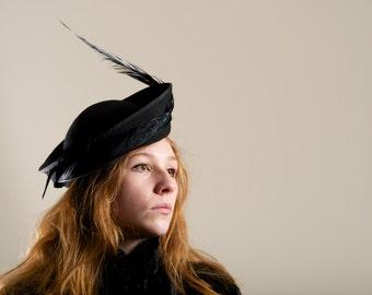 Glamorous Tilted  Black Hat Cocktail Formal Luxe Millinery  OOAK