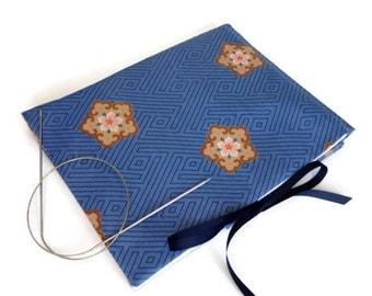 Circular Needle Case Knitting Needle Storage Needle Organizer Case with Pockets Needle Storage Blue Screen Print Fabric