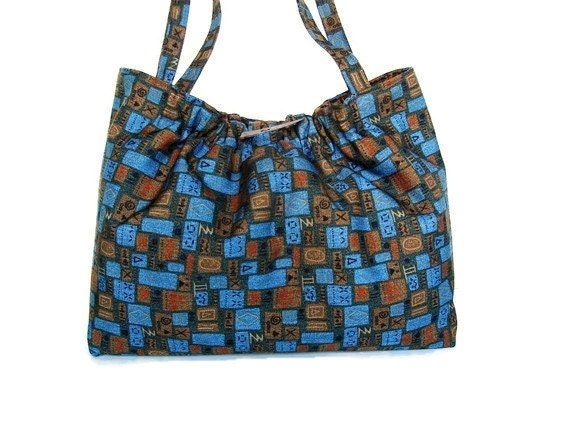 Knitting Project Bags For Sale : Knitting project bag knitters tote upholstery fabric blue