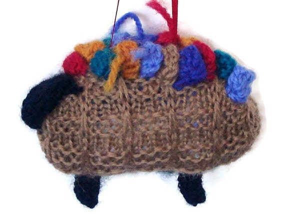 Hand Knitted Sheep Ornament Christmas Holiday Lamb Thanksgiving Ornament Knitting Basket Sheep Knitted Brown Sheep Ornament