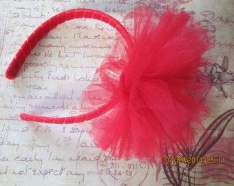 Red Tulle Headband - Valentine's Day Headband - Tulle Headband - Tulle Tutu Headband