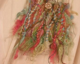 Needle Felted Silk Fiber Beaded Fairie Purse Art to Wear