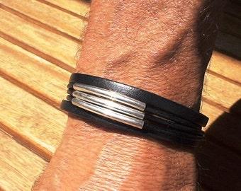 Mens beaded bracelets, mens bead bracelets, mens silver bracelets, cool mens bracelets, leather Bracelets, leather jewelry, silver bracelets