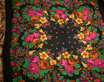 """Vintage Large Russian Shawl Head Scarf with Tassels - Floral - Roses on Black - Wool - 59"""" inches - From Russia / Soviet Union / USSR Japan"""
