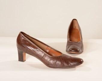 Vintage 1960s Chocolate Brown - Genuine Reptile - Size 11 12 13 Narrow