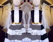 Black and white striped flower girl dresses