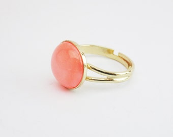 Misty peach pink ring, gold peach ring, gold adjustable ring, round cabochon ring, gift for her