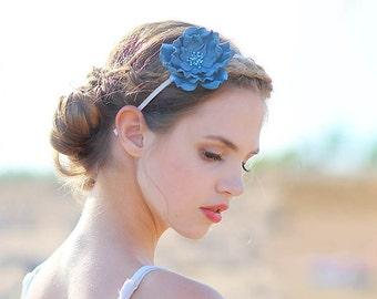 Blue leather flower headband fascinator bridal hair accessory