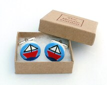 Sailing Boat Cufflinks, Nautical Cufflinks, Men's Gifts, Gift for Dad, For Him, Wedding Cufflinks, Groom Cufflinks, Gift for Grandad,
