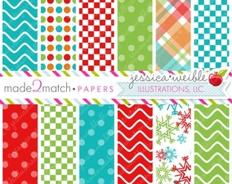 Jolly Frosty Fun Cute Digital Papers - Commercial Use OK - Christmas Backgrounds, Christmas Papers, Digital Paper