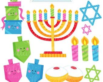Happy Hanukkah Cute Digital Clipart - Commercial Use OK - Hanukkah Graphics, Hanukkah Digital Art, Dreidel Clipart