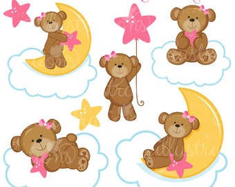 Dreaming Girl Bears Cute Digital Clipart for Commercial or Personal Use, Nursery Clipart, Bears on Clouds, Girl Bears Clipart
