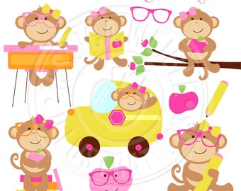 Classroom Girl Monkeys Cute Digital Clipart - Commercial Use OK - Monkey School Clip Art - Classroom School Graphics