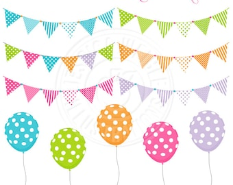 Polka Dot Balloons & Banners Cute Digital Clipart, Bunting Clipart, Balloon Clip art, Birthday Party Clip art, Flag Bunting Graphics, Multi