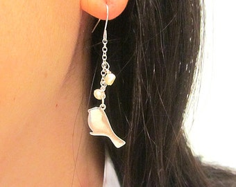 Bird silver silouette with 2 pearl dangle long chain earring wedding bridemaids