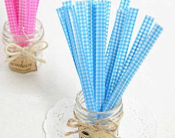 50 Twist Ties - Gingham Check / Blue (0.3 x 4.7in)
