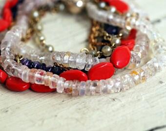 Multi Strand Stacking Bracelet w Vintage Chain  Moonstone meditation healing energy