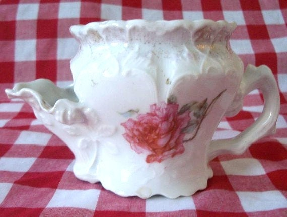 Antique Large Hand Painted Porcelain Scuttle Shaving Mug