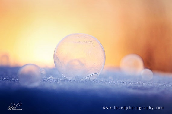 ICE BUBBLES photography print- ice, bubbles, winter, snow, sunlight, textures,