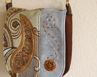 cute handbag in chocolate brown, blue, aqua