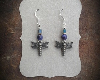 Purple Dragonfly Sterling SIlver Dangle Earrings, Carefree Dragonfly Purple Dangle Sterling Silver Earrings