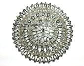 Vintage SARAH COVENTRY Silver Scroll Filigree Big Brooch Pin