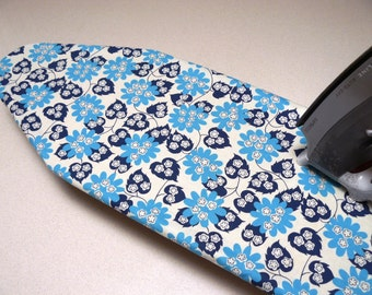 Ironing Board Cover TABLE TOP - retro blue flowers and leaves