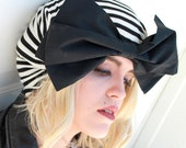 Striped Turban Hat Bow, Beret Hat Bow,  Borderline Hat,  Black & White Striped Knit Turban Bow, Black Beret Bow