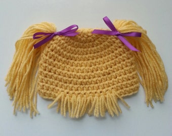 Cabbage Patch Hat - Cabbage Patch Hair - Infant Hat - Baby Gift - Photo Prop
