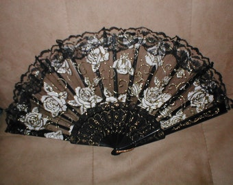 Vintage Black Lace Folding Fan with Gold