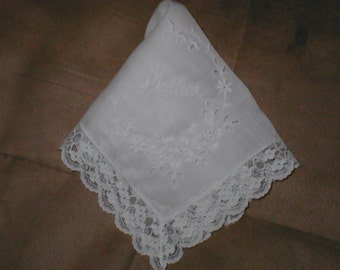 Vintage White or Ivory Lace Mother of the Bride Wedding Handkerchief
