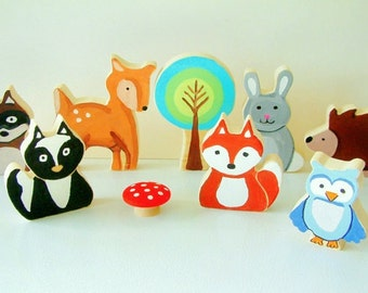 Woodland  Animal Family - All Wood Toy Set - 8 Piece Set - Woodland Nursery - Woodland creatures