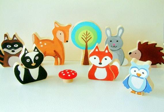 Woodland Animal Family All Wood Toy Set 8 Piece Set