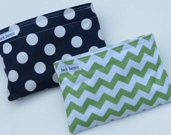 Reusable Snack Bag Set of Two Green Chevron Navy Polka Dots