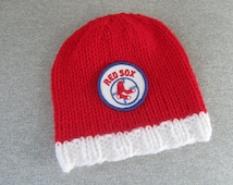 BOSTON RED SOX Hand Knit Baby Hat - Boston Baby Hat - Hand Knitted Baby Hat