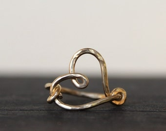 Gold Funky Heart Ring