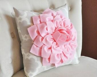 Light Pink Dahlia Flower on Neutral Gray Tarika Pillow Accent Pillow Throw Pillow Toss Pillow
