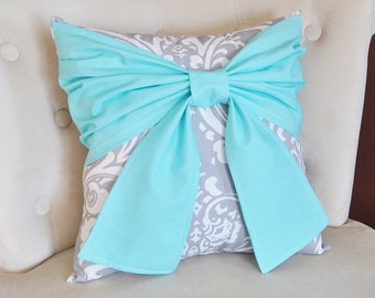 Throw Pillow Bright Aqua Bow on a Gray and White Damask Pillow 14x14 -Aqua Blue Pillow-