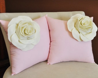 TWO Decorative Pillows - Ivory Corner Roses on Light Pink Throw Pillows