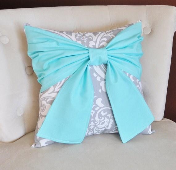 Cute Aqua Throw Pillows : Items similar to Throw Pillow Bright Aqua Bow on a Gray and White Damask Pillow 14x14 -Aqua Blue ...