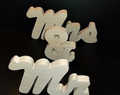 Mr & Mrs Wedding Reception Stand Alone Wood Letters Unfinished Style 3 Stk No. M-3-.75-5-LC-SA