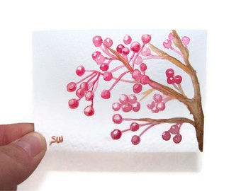 Berries Watercolor Painting Print ACEO - 3.5 x 2.5
