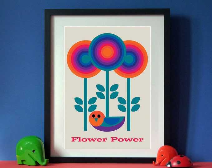 SALE Vintage inspired Flower Power  A3 print Vintage Mid-century style print
