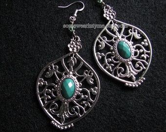 Large statement earrings | silver filigree | blue dangle